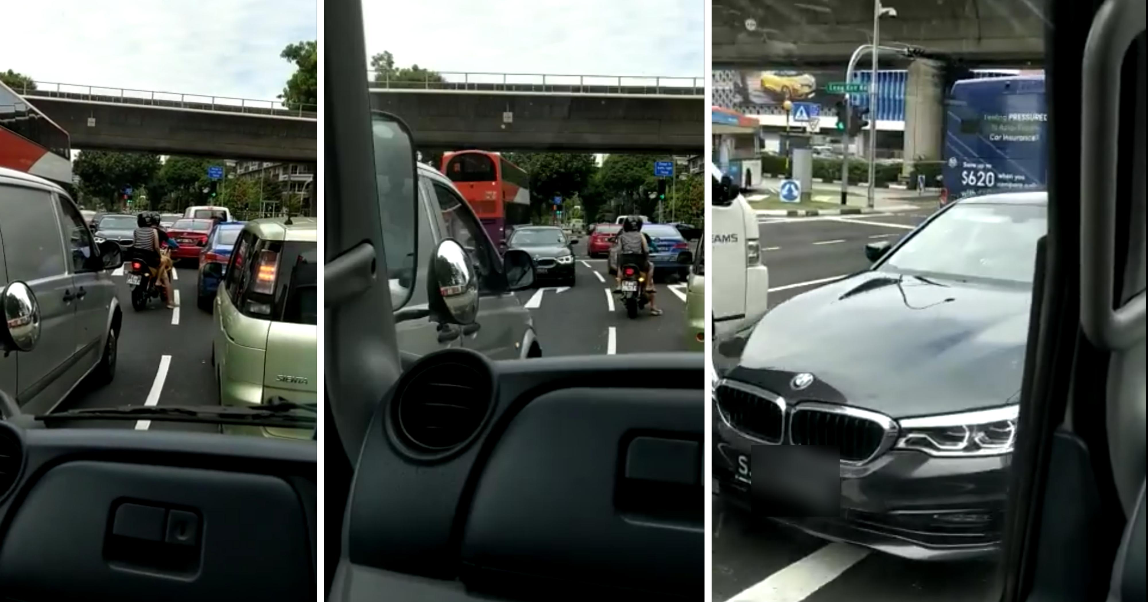 BMW driver drives against traffic, got cursed by others but still calmly driving