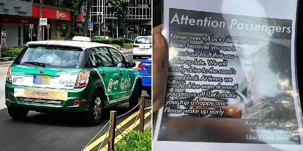 Grab driver warns passenger that if they are late, never ask drivers to speed