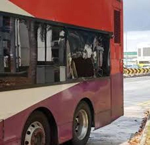 SBS bus pierced by pipe in accident at Woodlands