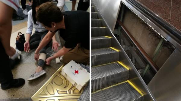 Escalator side panel at City Hall MRT station dislodged